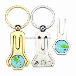 G-DT 9440 customized unique gold casting key chain golf divo t tool with ball marker