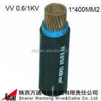 VV 1*400 copper single core 0.6/1KV PVC Insulation PVC Sheath Electrical power Cable