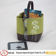 Simple dandelion pattern Grey&Green felt storage bag for sundries organize
