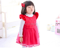 80129 girls boutique clothing girl dress red tutu skirt with fur and pearl