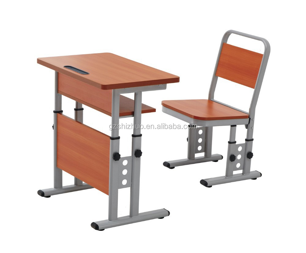 Durable school furniture wooden single desk and chair in for School furniture from china
