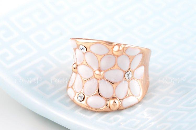11.11 רוקסי קלאסיקה אמיתית הקיץ מתנת גבישים אוסטריים מכירות לדוגמה פלטינה מצופה זהב אושר פרח טבעת תכשיטי אופנה