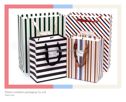 Popular stripe paper kraft bag shopping bag popular hand paper bag