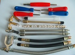 Tire valve extensions/tire inflation tools/tire repair tool