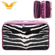 wholesale two zipper pocket brush holder cosmetic bag makeup case