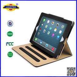 china Luxury Black Tan Leather Stand case for IPad Air 2 newest