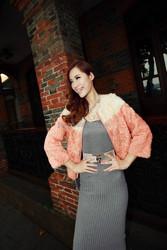 2015 Elegant Ladies Lamb Fur Overcoat Real Sheep Fur Outer Wear Glamour Design