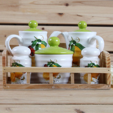 Lemon Design 5 PCS Ceramic Condiment Set with wooden stand,Ceramic Kitchenware Set