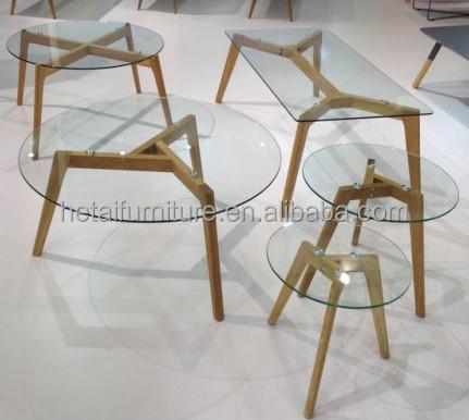 공장 제공 glass+oak 다리 커피 테이블, 강화 유리 커피 테이블 ...