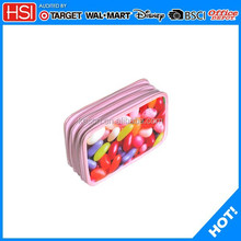 school stationery jelly bean printed 3 layer plastic pencil case