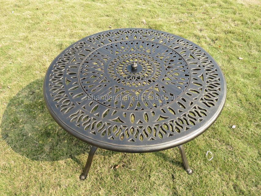 Bronze ronde patio ext rieur meubles de jardin en fonte d for Table exterieur fonte