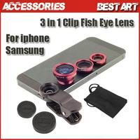 Universal 3in1 Clip Fish Eye Lens Wide Angle Macro Mobile Phone Lens For iPhone 5 6 6 Plus Samsung All Phones fisheye MOTO G