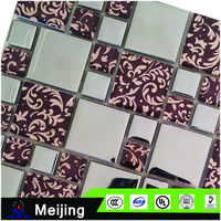 New home decorate anti-alkali gold silver mosaic tile for swimming pool with melted edge for wallpapers