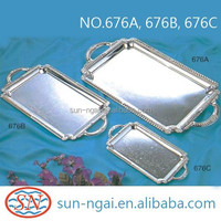 Special price romantic fancy design iron with chrome plating tray with handles gift tray for wedding serving luxury dinner