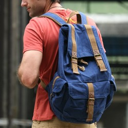2350 Durable Best Fashionable Casual Custom Double Straps Canvas Leather Trim Travel Bag for Men Back Pack