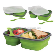 Lastest Best Selling Rectangle Double Case Collapsible Lunch Box