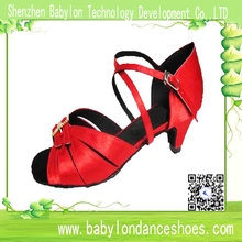 High quality manufacturer red satin low heel suede sole dance shoes