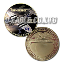 United States Military P-47 Thunderbolt Color Printed Gold Souvenir/ Custom Challenge Coin/ Custom Coin
