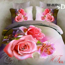2015 hot sale romatic flower 3D design bed sheet sets China wholesale
