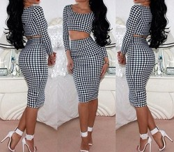 2015 Women Sexy Bandage Bodycon Two piece Dress Ladies Girls Fashion Cocktail Party Dresses