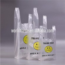 Two colors one side printed clear THANK YOU T-shirt bags for supermarket use