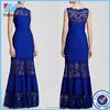 Elegant Blue Lace Floor Length Dress Sleeveless Scollop Neck Slim Long Maxi Prom Party Evening Dresses