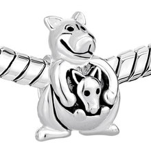 S600 Cute Kangaroo Carrying Baby Beads S925 Sterling Silver Beads Charm