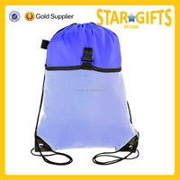 2015 Most popular good quality wholesale mesh blue fashion drawstring backpack