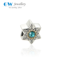 Promotion 925 Sterling Silver Starlike Design Bead With Elegant Blue Zircon Stone In Center