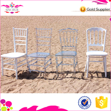 Hotsale 2015 Qingdao Sinofur OEM wood and clear resin rental napoleon chair for transparent