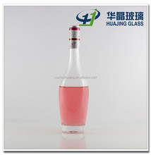 High quality clear empty 500ml handmade super flint glass liquor bottle with screw cap wholesale