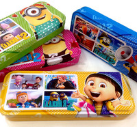 TF-W01151008014 new style minions Creative pupils in double Tin pencil case gifts wholesale