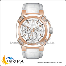 Oem and Odm custom your design and color wrist watch with genuine leather strap