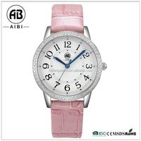 japan movt quartz stainless steel bezel genuine leather slim stone watch