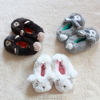 2015 new winter hot sales Girls Winter Plush Indoor Slippers Lovely Animal face embroidery home slippers for kids