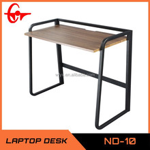 wood square table with folding leg, black frame computer study desk ND-10