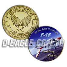 Popular selling F-16 Fighting Falcon Color Printed Gold Souvenir/ Custom Challenge Coin/ Custom Coin