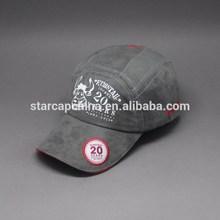 Diseña de su propio logotipo impresión de gamuza y aplique bordado de gorra de béisbol
