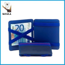 OEM and ODM blue color real leather Genuine leather magic wallet