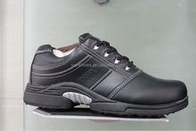 classic black genuine leather golf shoes with spike for business, brand factory shoes sport for men women