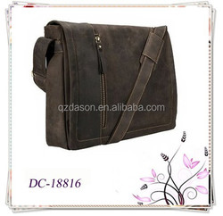 Trendy Brown Leather Laptop Computer Case Messenger Bag