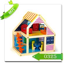 2015 new children wooden doll house