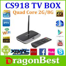 RK3188 up to 1.8GHz ARM Android Cs918 Tv box 4.2 Quad-Core Cs918 Smart Ip Tv Box Rockchips