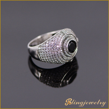 White gold plated 925 silver men's ring with black cz stone