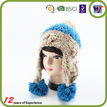 Wholesale knitting pattern earflap hat knitted hairy beanie hat