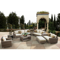 Luxury round rattan large garden use 8 seater sofa set and wicker outdoor furniture