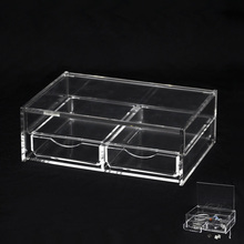 2 Clear drawer plastic compartment storage box