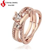 Popular cheap fake wedding rings gold 18k for women
