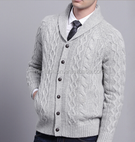 2016 Winter Shawl Neck Cable Knitting Pattern Mens Chunky Cardigan - Buy Mens...