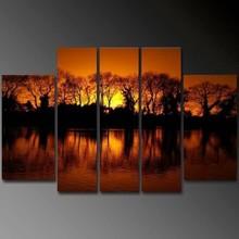 Handmade home decor Artwork sunset 5 panel group oil painting on canvas